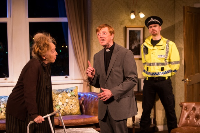 Anne Lacey as Garson, Gavin John Wright as Rev Shandy and Martin McCormick as Blunt, The Lying Kind credit John Johnston